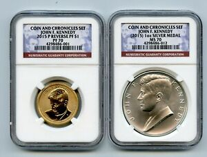 Click now to see the BUY IT NOW Price! 2015  JOHN F KENNEDY SILVER MEDAL REVERSE SET NGC PR70 MS70 SE 4298486 001