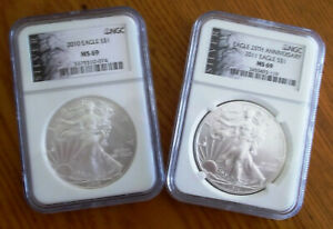 2010 AND 2011 SILVER EAGLE NGC MS 69 ASE LABEL 2 COIN SET 25TH ANNIVERSARY