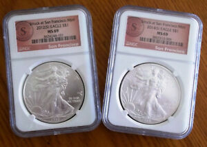 2012  S  & 2014  S  SILVER EAGLE NGC MS 69 SF MINT LABEL LABEL 2 COIN SET