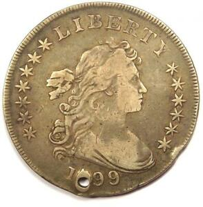 1799/8 DRAPED BUST SILVER DOLLAR $1 BB 143   VF DETAILS  HOLED     COIN