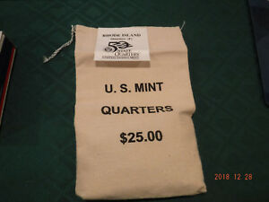 2001 RHODE ISLAND STATE QUARTERS  P  MINT  UNCIRCULATED  1  $25 BAG 100 COINS