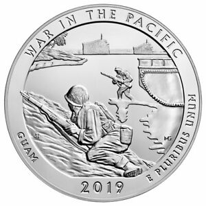 2019 25C 5 OZ SILVER ATB WAR IN PACIFIC NATIONAL PARK  GUAM  GEM BU SKU58831