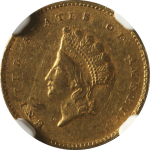 1855 C TYPE 2 INDIAN PRINCESS  GOLD $1 NGC AU 53  CHARLOTTE MINT
