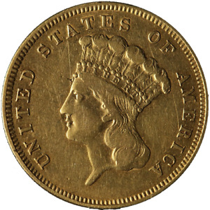 1856 S/S INDIAN PRINCESS GOLD $3 CHOICE XF DETAILS NICE EYE APPEAL GREAT COLOR