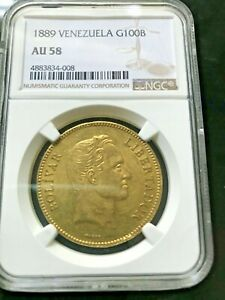 Click now to see the BUY IT NOW Price! 1889 VENEZUELA 100 BOLIVARES GOLD COIN PACHANO NGC AU58
