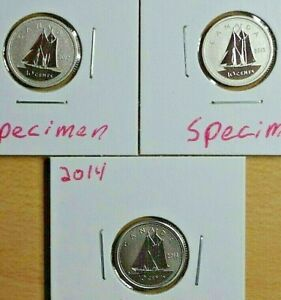 2012 2013 2014  3 SPECIMENT COIN 10 CENT