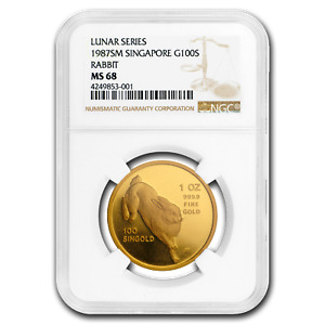 Click now to see the BUY IT NOW Price! 1987 SINGAPORE 1 OZ GOLD 100 SINGOLD RABBIT MS 68 NGC   SKU194060