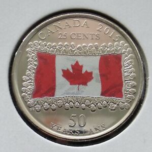 CANADA 25 CENT 2015 CANADIAN FLAG COLOR   50TH ANNIVERSARY   MS