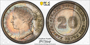 Click now to see the BUY IT NOW Price! 1873 STRAITS SETTLEMENT QUEEN VICTORIA SILVER 20 CENTS PCGS AU58 KM12