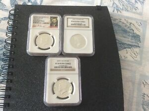 3  2007 2014 S SILVER 50C ULTRA CAMEO EARLY RELEASES NGC PF69 PF70