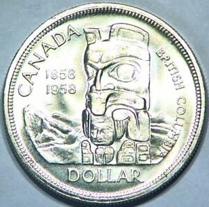 1958 SILVER CANADIAN DOLLAR 1$ UNCIRCULATED NICE BRIGHT COIN STACKER SILVER B33
