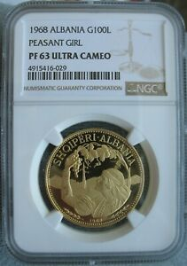 Click now to see the BUY IT NOW Price! ALBANIA 1968 GOLD 100 LEKE NGC PF 63 ULT. CAMEO PEASANT GIRL