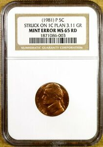1981 P NGC MS65 RED JEFFERSON NICKEL STRUCK ON LINCOLN CENT PLANCHET MINT ERROR