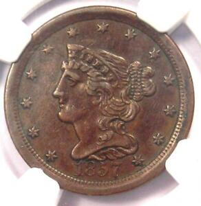 1857 BRAIDED HAIR HALF CENT 1/2C COPPER COIN   CERTIFIED NGC XF DETAILS