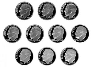 DECADE OF 70S' S PROOF ROOSEVELT DIMES   1970 1979  10 NICE PROOF COINS 9/28