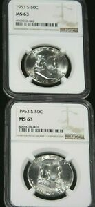 1953 S FRANKLIN SILVER HALF DOLLAR NGC MS63 WHITE GREAT LUSTER PQ G573