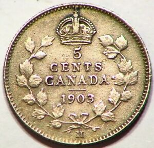 1903 H FIVE CENTS CANADIAN 5C SILVER NICE COIN CANADA B007