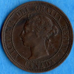 CANADA 1891 LD LL 1 CENT ONE LARGE CENT COIN   VF/EF