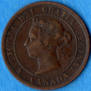 CANADA 1891 SD LL 1 CENT ONE LARGE CENT COIN   F/VF