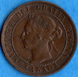 CANADA 1895 1 CENT ONE LARGE CENT COIN   AU