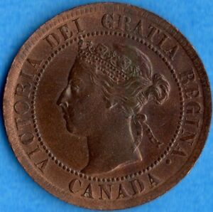 CANADA 1895 1 CENT ONE LARGE CENT COIN   EF   CLEANED