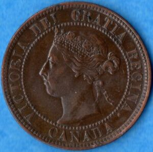 CANADA 1900 1 CENT ONE LARGE CENT COIN   EF  CLEANED