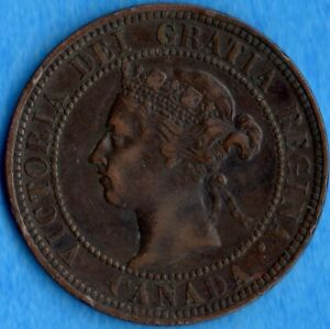 CANADA 1900 H 1 CENT ONE LARGE CENT COIN   FINE