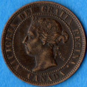 CANADA 1900 1 CENT ONE LARGE CENT COIN   VF/EF