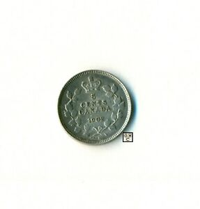 CANADA 1902 SMALL  H   5CENTS COIN ; XF/AU