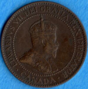 CANADA 1907 H 1 CENT ONE LARGE CENT COIN   F/VF