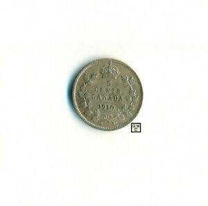 CANADA 1910  5CENTS COIN ; POINTED LEAVES ; AU 58