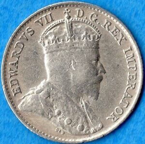 CANADA 1909 POINTED LEAVES 5 CENTS FIVE CENT SMALL SILVER COIN   FINE