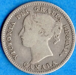 CANADA 1885 10 CENTS TEN CENT SILVER COIN   GOOD
