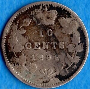 CANADA 1892 2/1 LARGE 9 10 CENTS TEN CENT SILVER COIN   G/VG