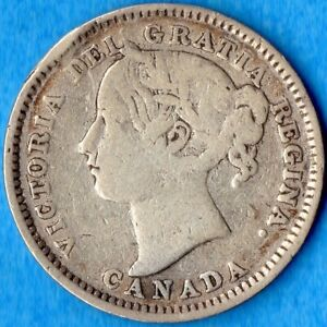 CANADA 1899 SMALL '99' 10 CENTS TEN CENT SILVER COIN   GOOD