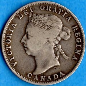CANADA 1888 25 CENTS TWENTY FIVE CENT SILVER COIN   VG/F
