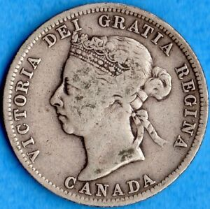 CANADA 1900 25 CENTS TWENTY FIVE CENT SILVER COIN   VG/F