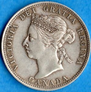 CANADA 1900 25 CENTS TWENTY FIVE CENT SILVER COIN   VF/EF