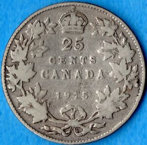 CANADA 1915 25 CENTS TWENTY FIVE CENT SILVER COIN   KEY DATE   CIRCULATED