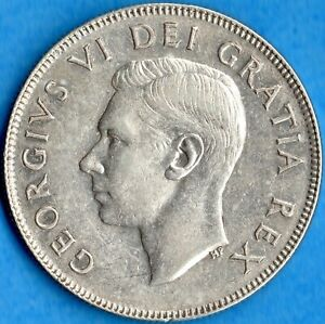 CANADA 1948 50 CENTS FIFTY CENTS SILVER COIN   KEY DATE   EF