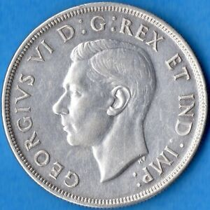 CANADA 1947 MAPLE LEAF ML $1 ONE DOLLAR SILVER COIN   CLEANED