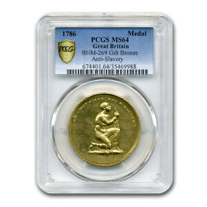 Click now to see the BUY IT NOW Price! 1786 GREAT BRITAIN GILT ANTI SLAVERY MEDAL MS 64 PCGS   SKU175540