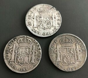 LOT OF 3 1805 AND 1808 AND 1812 MEXICO SILVER COIN 8 REALES COIN SET
