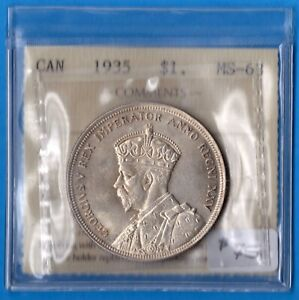 CANADA 1935 $1 ONE DOLLAR SILVER COIN   ICCS MS 63