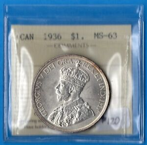 CANADA 1936 $1 ONE DOLLAR SILVER COIN   TRENDS $120   ICCS MS 63