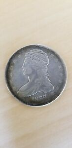 1837 CAPPED BUST HALF DOLLAR REEDED EDGE NICE TONING  O 111