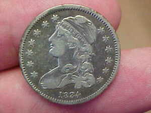 1834 CAPPED BUST QUARTER FULL RIM DATE LIBERTY CAP FEATHERS TONED