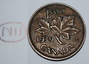 CANADA 1939 1 CENT COPPER COIN ONE CANADIAN PENNY LOT N11