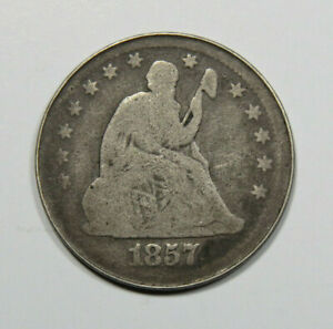 1857 SEATED LIBERTY QUARTER US COIN