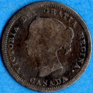 CANADA 1858 5 CENTS FIVE CENT SMALL SILVER COIN   FIRST YEAR   CIRCULATED